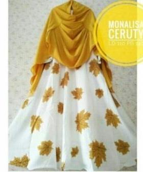 Jual Baju Gamis Cantik Mapple Syar'i Bahan Monalisa