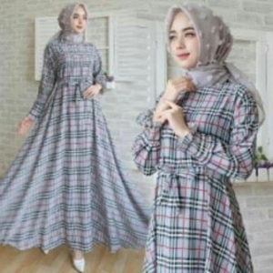 Jual Baju Gamis Terbaru Burberry Dress-2 Ukuran Kecil Bahan Katun Clark