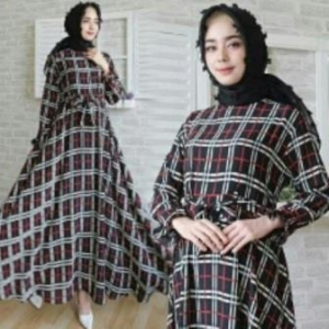 Jual Baju Gamis Terbaru Burberry Dress-3 Ukuran Kecil Bahan Katun Clark