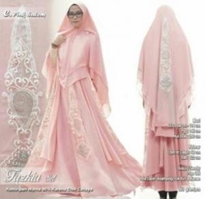 Jual Baju Gamis Terbaru Tanah Abang Tazkia Set Warna Pink Salem Bahan Spandex
