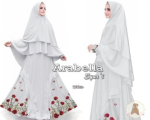 Jual Baju Muslim Arabella Syar'i Ukuran Besar Warna Putih Bahan Maxmara