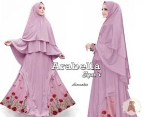 Jual Baju Muslim Arabella Syar'i Ukuran Besar Warna Ungu Bahan Maxmara
