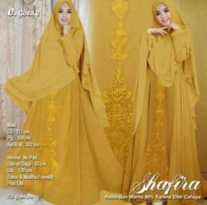 Jual Baju Muslim Online Shafira Syar'i Warna Gold Bahan Ceruty