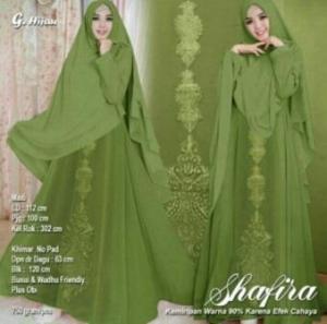 Jual Baju Muslim Online Shafira Syar'i Warna Hijau Bahan Ceruty