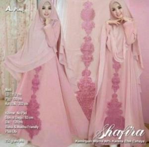 Jual Baju Muslim Online Shafira Syar'i Warna Pink Bahan Ceruty