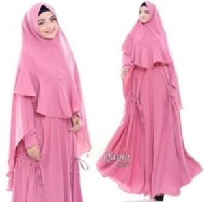 Jual Busana Muslim Terbaru Qania Syar'i Warna Rossy Pink Bahan Bubblepop