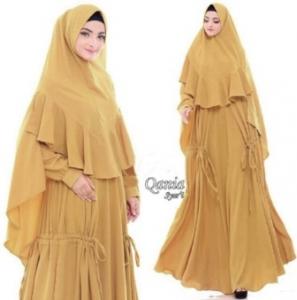Jual Busana Muslim Terbaru Qania Syar'i Warna Yellow Bahan Bubblepop