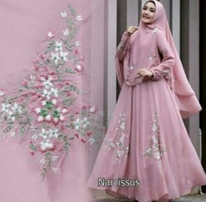 Jual Gamis Muslimah Untuk Pesta Narcissus Syar'i Warna Dusty Pink Bahan Ceruty