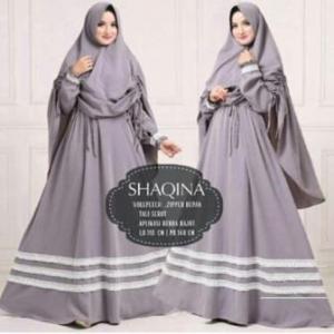 Jual Grosir Baju Gamis Shaqina Syar'i Terbaru warna Grey bahan Woolpeach