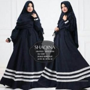 Jual Grosir Baju Gamis Shaqina Syar'i Terbaru warna Navy bahan Woolpeach