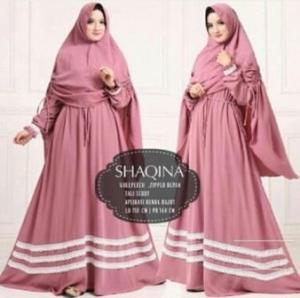 Jual Grosir Baju Gamis Shaqina Syar'i Terbaru warna Quava bahan Woolpeach