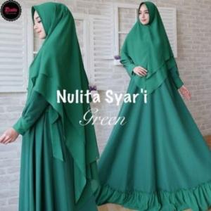 Jual Grosir Gamis Premium Nulita Syar'i Warna Hijau Bahan Woolpeach