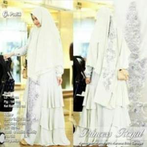 Jual Grosir Gamis Premium Untuk Pesta Princess Royal Syar'i Warna Putih Bahan Ceruty Premium