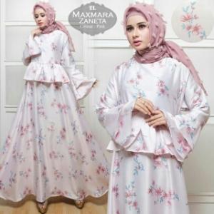 Jual Online Baju Gamis Terbaru Bahan Maxmara Zaneta-2