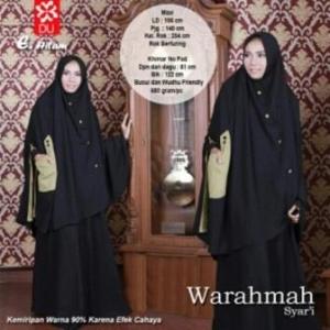 Jual Online Baju Gamis Warahmah Syar'i Warna Hitam Bahan Katun Rayon