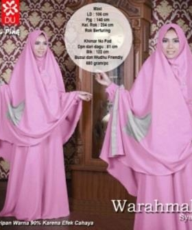 Jual Online Baju Gamis Warahmah Syar'i Warna Pink Bahan Katun Rayon