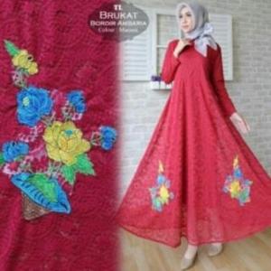 Jual Online Busana Muslim Pesta Ambaria Dress-1 Bahan Brokat Import