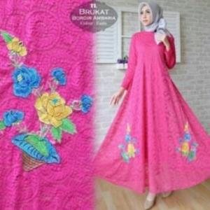 Jual Online Busana Muslim Pesta Ambaria Dress-2 Bahan Brokat Import