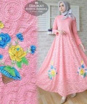 Jual Online Busana Muslim Pesta Ambaria Dress-4 Bahan Brokat Import