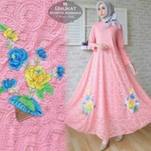Jual Online Busana Muslim Pesta Ambaria Dress-4 Bahan Brokat Import