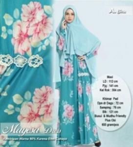 Jual Online Busana Muslim Terbaru Mayesa Syar'i warna Biru Bahan Crepe