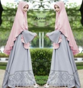 Jual Online Gamis Cantik Aznii Syar'i Warna Silver Bahan Bubblepop