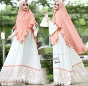 Jual Online Gamis Cantik Aznii Syar'i Warna White Bahan Bubblepop