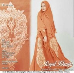 Jual Online Gamis Pesta Terbaru Royal Khasifa Warna Orange Bahan Ceruty