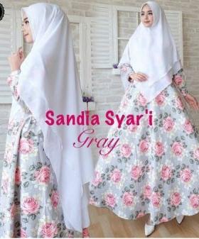Jual Online Gamis Premium Sandia Syar'i Warna Putih Bahan Jacquard