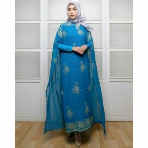 Koleksi Baju India Modern Kaftan India Warna Blue Bahan Sari India