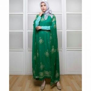 Koleksi Baju India Modern Kaftan India Warna Hijau Daun Bahan Sari India