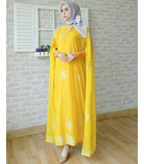 Koleksi Baju India Modern Kaftan India Warna Yellow Bahan Sari India