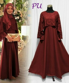 Online Shop Baju Hijabers Modern Olivia Dress Warna Maroon bahan Balotelli