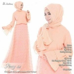 Online Shop Baju Hijabers Modern Percy Set Warna Salem Bahan Ceruty