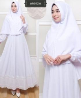 Pakaian Umroh Muslimah Suci Syar'i Warna Putih Bahan Woolpeach
