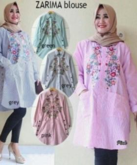 Supplier Baju Atasan Wanita Muslim Zarima Blouse Bahan Katun Yanded