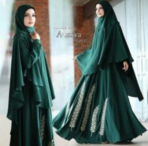 Supplier Baju Gamis Cantik Anasya Syar'i Warna Dark Green Bahan Wollycrepe