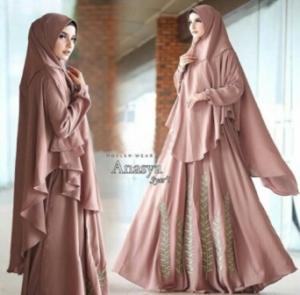Supplier Baju Gamis Cantik Anasya Syar'i Warna Dusty Milo Bahan Wollycrepe