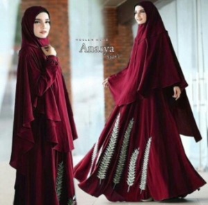 Supplier Baju Gamis Cantik Anasya Syar'i Warna Maroon Bahan Wollycrepe