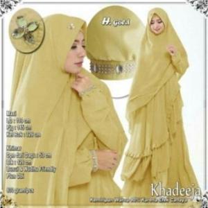 Supplier Baju Gamis Pesta Khadeeja Syar'i Warna Gold Bahan Ceruty