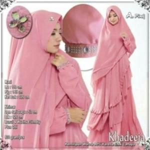 Supplier Baju Gamis Pesta Khadeeja Syar'i Warna Pink Bahan Ceruty