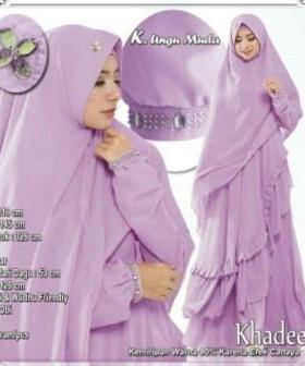 Supplier Baju Gamis Pesta Khadeeja Syar'i Warna Ungu Bahan Ceruty