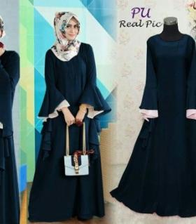 Supplier Baju Gamis Pesta Mewah Seana Dress Warna Navy Bahan Crepe