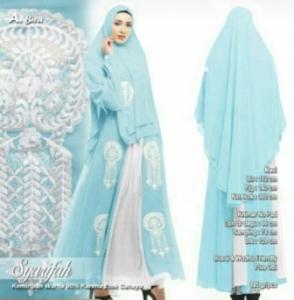 Supplier Baju Gamis Pesta Syarifah Syar'i Warna Biru Bahan Ceruty Premium wilayah Jabodetabek