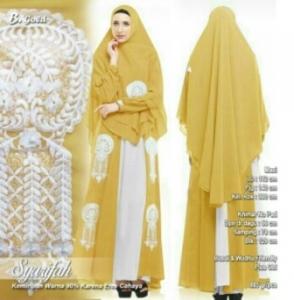 Supplier Baju Gamis Pesta Syarifah Syar'i Warna Gold Bahan Ceruty Premium WILAYAH Jabodetabek
