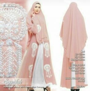 Supplier Baju Gamis Pesta Syarifah Syar'i Warna Salem Bahan Ceruty Premium Wilayah Jabodetabek