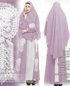 Supplier Baju Gamis Pesta Syarifah Syar'i Warna Ungu Bahan Ceruty Premium Wilayah Jabodetabek