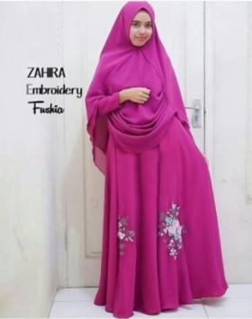 Supplier Baju Pesta Muslim Zahira Warna Fuschia Bahan Ceruty