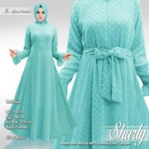 Supplier Busana Muslim Terbaru Sharly Warna Biru Tosca Bahan Hycon Rubiah