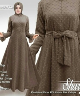 Supplier Busana Muslim Terbaru Sharly Warna Coklat Tua Bahan Hycon Rubiah